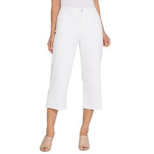4 Joan Rivers White Denim Gauchos Fringe Hem Pants